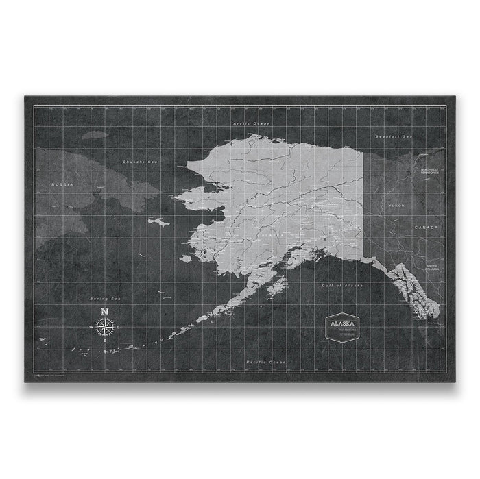 Alaska Travel Map Pin Board w/Push Pins - Modern Slate
