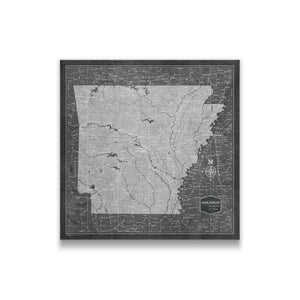 Arkansas state map pin board with pushpins