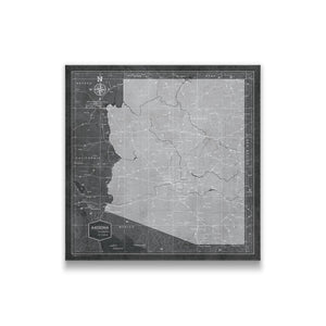 Modern Slate Arizona state map pin board with pushpins
