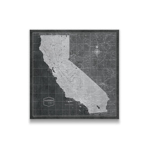 Modern Slate California state map pin board with pushpins