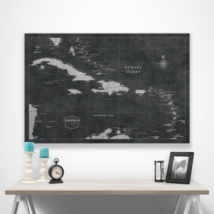 Modern Slate Caribbean Pin Board Map over a table