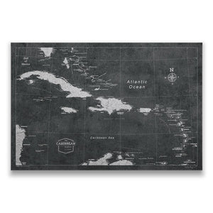 Modern Slate Caribbean Pin Board Map Thumbnail