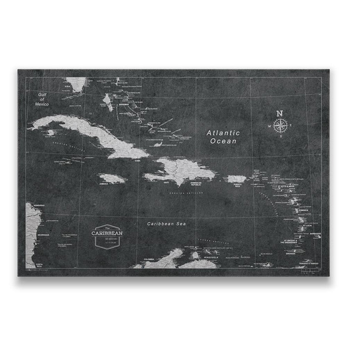 Caribbean Travel Map Pin Board w/Push Pins - Modern Slate