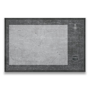 Modern Slate Colorado state map pin board with pushpins