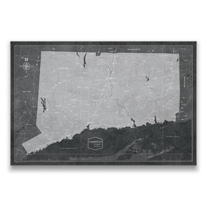 Modern Slate Connecticut state map pin board with pushpins