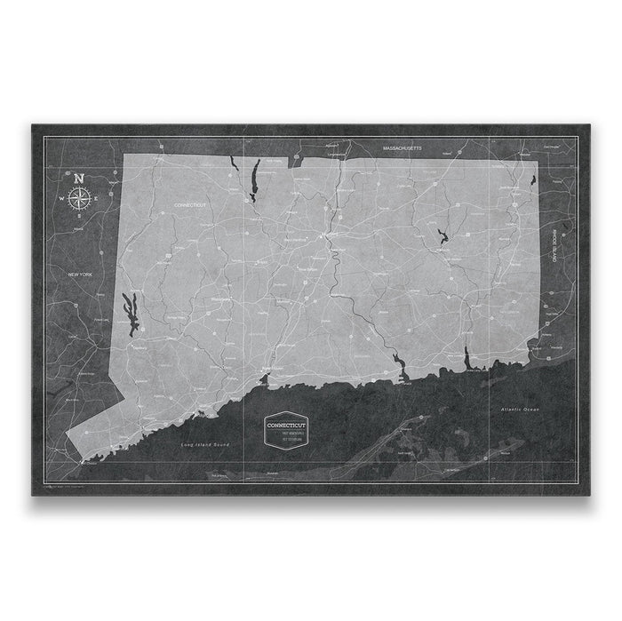 Connecticut Travel Map Pin Board w/Push Pins - Modern Slate