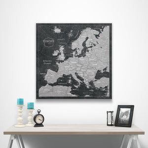 Europe Travel Map Pin Board w/Push Pins - Modern Slate