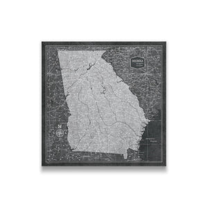 Modern Slate Georgia state map pin board with pushpins