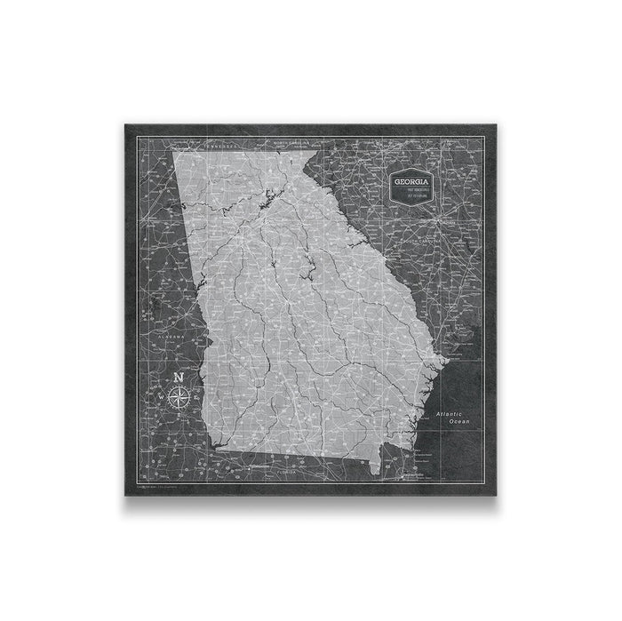 Georgia Travel Map Pin Board w/Push Pins - Modern Slate
