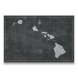 Modern Slate Hawaii state map pin board with pushpins