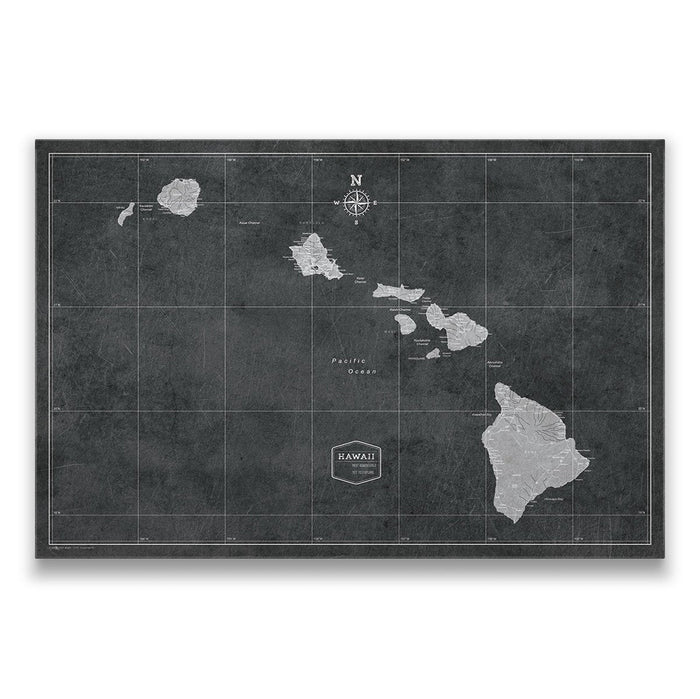 Hawaii Travel Map Pin Board w/Push Pins - Modern Slate