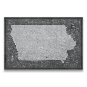Modern Slate Iowa state map pin board with pushpins