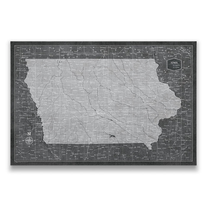 Iowa Travel Map Pin Board w/Push Pins - Modern Slate
