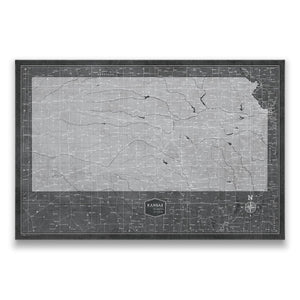 Modern Slate Kansas state map pin board with pushpins