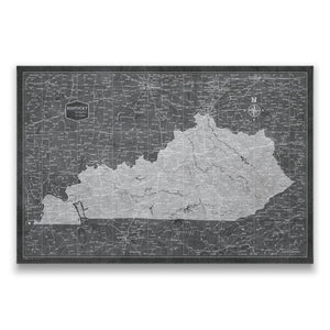 Modern Slate Kentucky state map pin board with pushpins