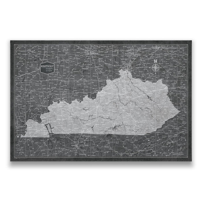 Kentucky Travel Map Pin Board w/Push Pins - Modern Slate