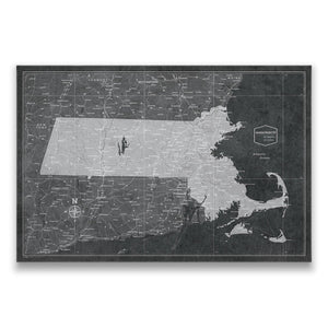 Modern Slate Massachusetts state map pin board with pushpins