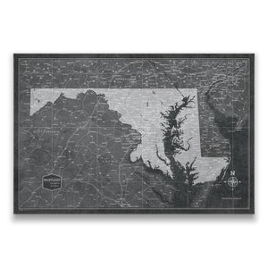 Modern Slate Maryland state map pin board with pushpins