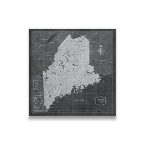 Modern Slate Maine state map pin board with pushpins