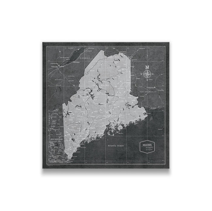 Maine Travel Map Pin Board w/Push Pins - Modern Slate