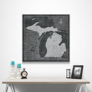 Michigan Travel Map Pin Board w/Push Pins - Modern Slate