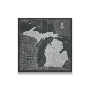 Modern Slate Michigan state map pin board with pushpins