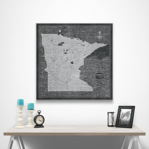 Minnesota Travel Map Pin Board w/Push Pins - Modern Slate