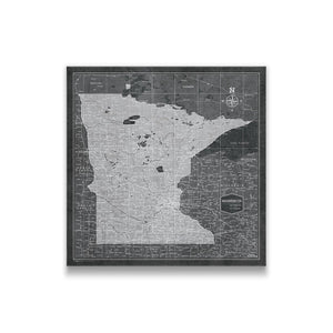 Modern Slate Minnesota state map pin board with pushpins