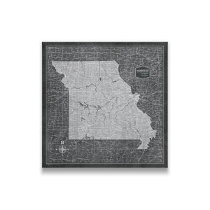Modern Slate Missouri state map pin board with pushpins