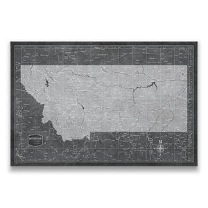 Modern Slate Montana state map pin board with pushpins