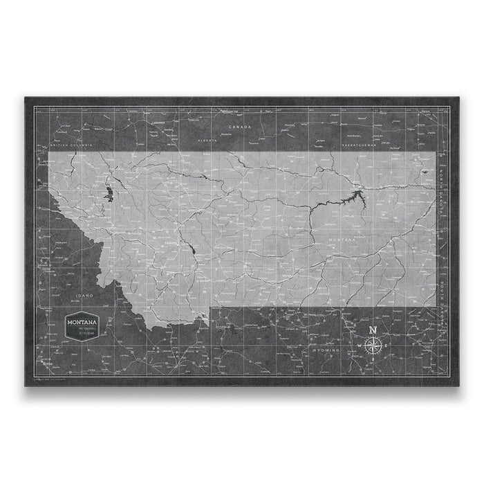 Montana Travel Map Pin Board w/Push Pins - Modern Slate