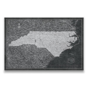Modern Slate North Carolina state map pin board with pushpins