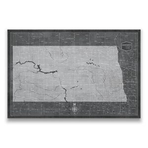 Modern Slate North Dakota state map pin board with pushpins