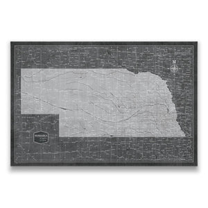Modern Slate Nebraska state map pin board with pushpins