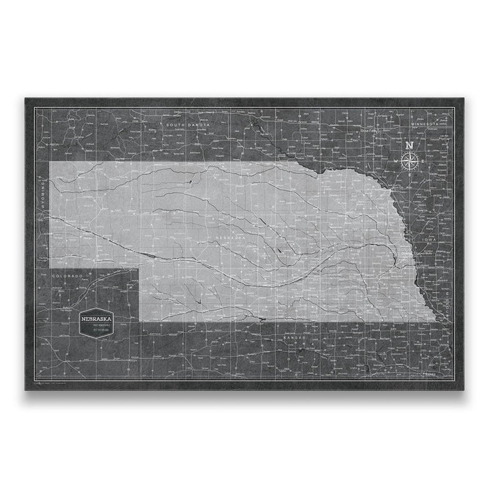 Nebraska Travel Map Pin Board w/Push Pins - Modern Slate