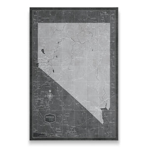 Modern Slate Nevada state map pin board with pushpins