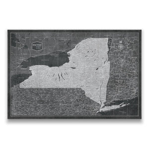 Modern Slate New York state map pin board with pushpins