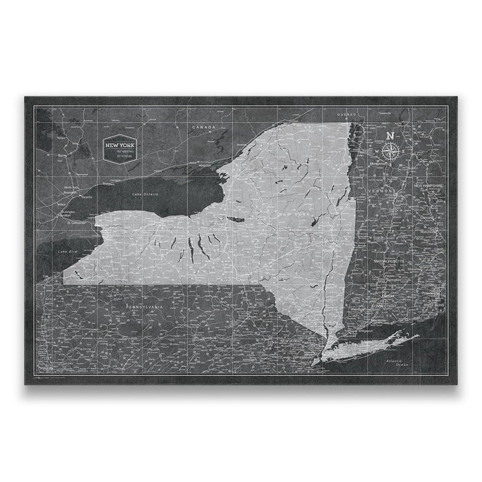 New York Travel Map Pin Board w/Push Pins - Modern Slate