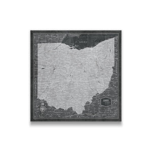 Modern Slate Ohio state map pin board with pushpins