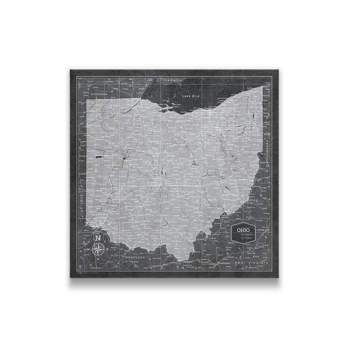 Ohio Travel Map Pin Board w/Push Pins - Modern Slate