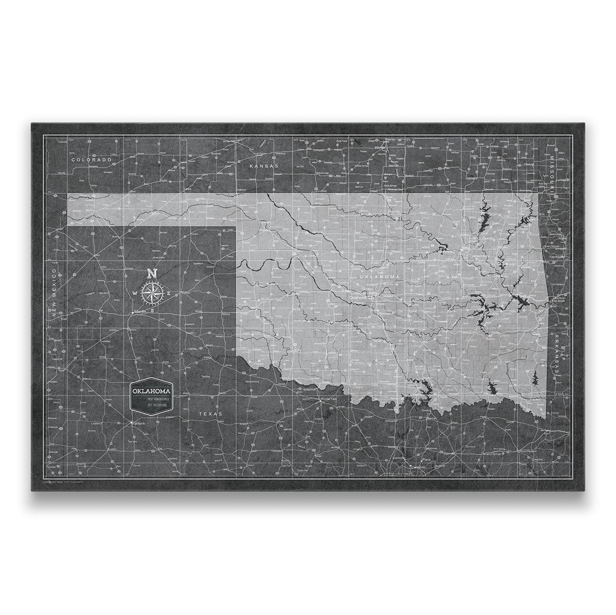 State Map Of Kansas And Oklahoma.Oklahoma Travel Map Pin Board With Push Pins Modern Slate