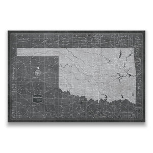 Modern Slate Oklahoma state map pin board with pushpins