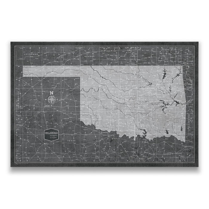 Oklahoma Travel Map Pin Board w/Push Pins - Modern Slate