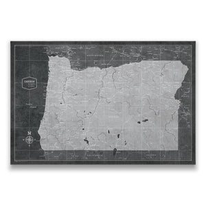 Modern Slate Oregon state map pin board with pushpins
