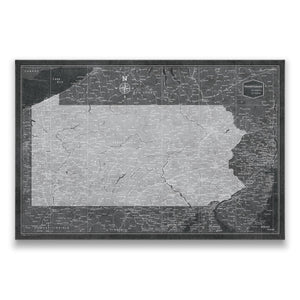 Modern Slate Pennsylvania state map pin board with pushpins