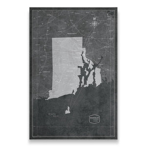 Modern Slate Rhode Island state map pin board with pushpins