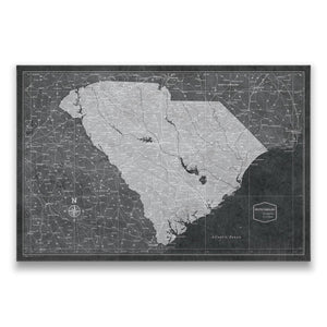 Modern Slate South Carolina state map pin board with pushpins