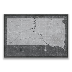 Modern Slate South Dakota state map pin board with pushpins