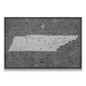 Modern Slate Tennessee state map pin board with pushpins