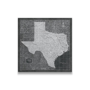 Modern Slate Texas state map pin board with pushpins